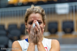 Aleksandra Miroslaw, Combined World Championship, Hachioji Japan 2019, in disbelief after learning that sh's got a ticket to Tokyo 2020