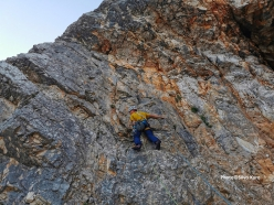 Luka Lindič making the first ascent of a new route up Široka peč in Slovenia on 12/08/2019 with Silvo Karo