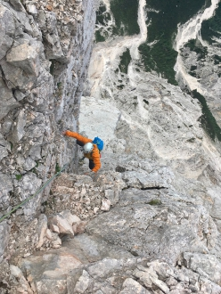 Silvo Karo and Luka Lindič making the first ascent of their new route up Široka peč in Slovenia (12/08/2019)