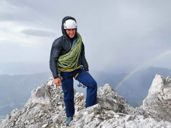 Luka Lindič on the summit of Široka peč in Slovenia on 12/08/2019 having made the first ascent of a new route up the mountain's North Face in memory of Franček Knez with Silvo Karo