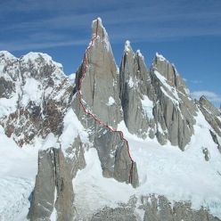 Cerro Torre: The line of the Slovenian route.