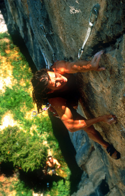 Cristian Brenna making the first repeat of Noia 8c+ at Andonno in 1995
