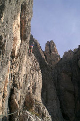 Gregor Demetz sul 5° tiro di Via Giulia - Torre Orientale Meisules dala Biesces