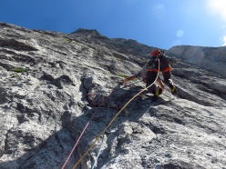 Making the first ascent of Futuro Incerto, Spiz della Lastia, Agner, Dolomites (Lorenzo Corso, Diego Toigo, Luca Vallata 18-19/08/2019)