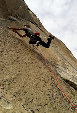 Kevin Jorgeson on the massive dyno on pitch 16 of Mescalito, El Capitan, Yosemite