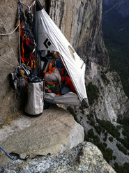 Basecamp for Tommy Caldwell and Kevin Jorgeson on Wino Tower, El Capitan, Yosemite