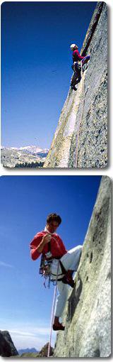 In alto: sulla variante Italia in Marmolada. In basso: Pietro in arrampicata a Toulumne Meadows