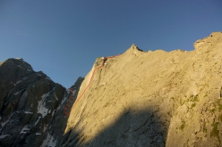 Pizzo Badile and the line of Free Nardella, climbed by Marcel Schenk and David Hefti