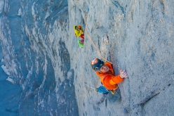Roger Schäli belayed by Nina Caprez and Sean Villanueva while making the first ascent of Merci La Vie, Eiger