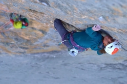 Nina Caprez belayed by Sean Villanueva and Roger Schäli while making the first ascent of Merci La Vie, Eiger