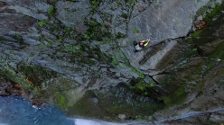 Toru Nakajima making his free solo ascent of Shomyo Fall, the highest waterfall in Japan