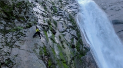 Toru Nakajima climbing free solo up the Shomyo Fall, the highest waterfall in Japan