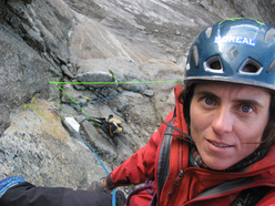 Sílvia Vidal on pitch 6 of her Naufragi, Kinnaur Valley, India