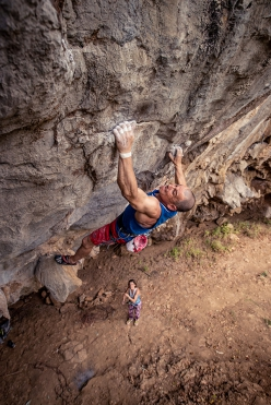 Volker Schöffl climbing a new route in Laos he established with his wife Isabelle Schöffl