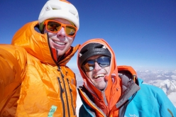 Tom Livingstone and Ally Swinton on the summit of Koyo Zom in Pakistan after having successfully completed the first ascent of west face