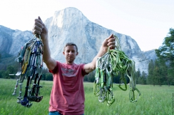 Tommy Caldwell below El Capitan, Yosemite, with the gear used to set a new speed record on The Nose with Alex Honnold