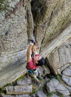 Michele Caminati climbing Greenspit in Valle dell'Orco, Italy