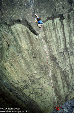 The route which triggered the slate climbing revolution: Comes the Dervish E3 5c, first ascended by Stevie Haston in 1981.