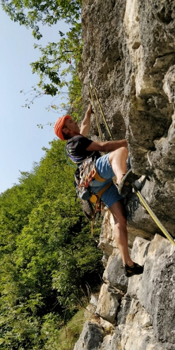 Making the first ascent of Uomini fuori posto, Enego, Valsugana, Italy (Ermes Bergamaschi, Mario Carollo )