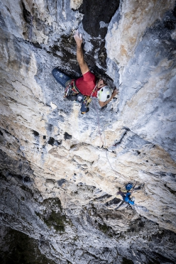 Mirco Grasso on the crux pitch of Dolce Attesa up Cima Nord dei Ferùch, Monti del Sole, Bellunese Dolomites, during the first repeat and first free ascent with Santi Padros