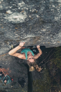 Matilda Söderlund climbing The Elder Statesman in Frankenjura, Germany, her first 9a