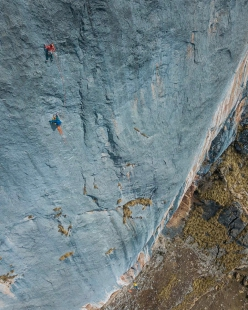 Charlotte Durif and Josh Larson making the first ascent of Vuelo del Condor up Kuntur Sayana in Peru