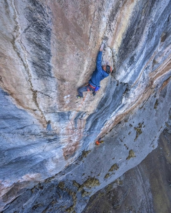 Josh Larson and Charlotte Durif making the first ascent of Vuelo del Condor up Kuntur Sayana in Peru