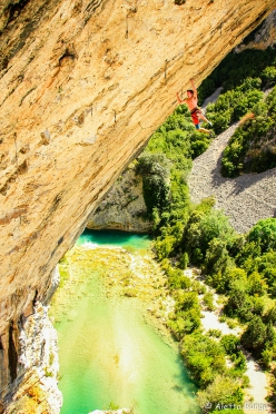 Seb Bouin at Rodellar making the first ascent of Detectives 9a