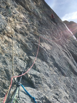 Lavarella west Face, Dolomites: Tobias Engl and Florian Huber making the first ascent of Dolasilla