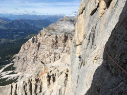 Tobias Engl and Florian Huber making the first ascent of Dolasilla, Lavarella west Face, Dolomites