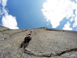 Iker Pou climbing in the Bapsa Valley, Indian Himalaya, with his brother Eneko Pou