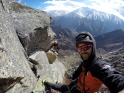 Eneko Pou and Iker Pou climbing in the Bapsa Valley, Indian Himalaya