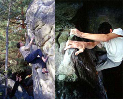 Dave Graham in arrampicata a Fontainebleau