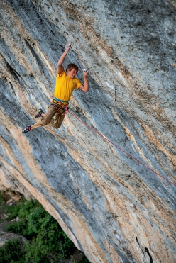 Alexander Megos climbing Bibliographie 9c at Céüse in France. After 60 days of effort this is now the most difficult sport climb in France and only the second 9c in the world.
