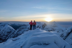 Greg Boswell and Guy Robertson on the summit of An Teallach after making the first ascent of  Local Hero: 'We sat on the ridge after the ascent and watched the sun set over the beautiful Scottish mountains and it really was the perfect way to start the season.'