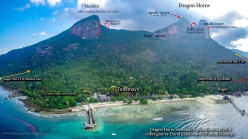 Dragon Horns Tioman Island and the view onto the Mumbar area