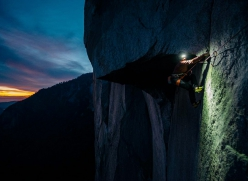 Barbara Zangerl working The Great Roof pitch of The Nose, El Capitan, Yosemite
