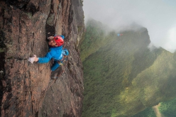 Leo Houlding making the first ascent of his new route up Mount Roraima in Guyana, pictured here on pitch 5