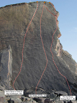 The line of Once Upon a Time in the Southwest E9 6c at Dyer's Lookout, Devon, England.