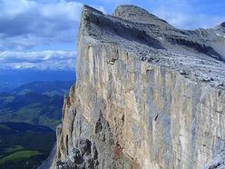 A view onto the Pilastro di Mezzo on Sass dla Crusc, Dolomites