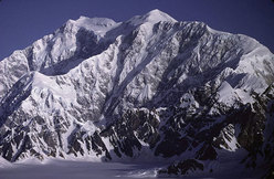 The line of the route taken by Yasushi Okada and Katsutake Yokoyama up the hitherto unclimbed SE Face of Mount Logan