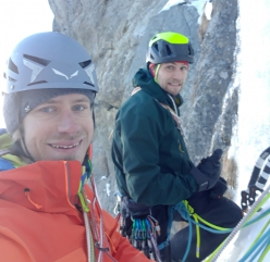 Simon Messner and Martin Sieberer pictured winter climbing in Austria