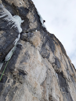 Simon Messner and Martin Sieberer making the first ascent of Seitensprung in Langental, Dolomites