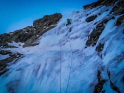 Martin Schidlowski leading pitch 2 of Catwalk, first ascended in Valsertal, Austria with Raphaela Haug on 10/01/2019