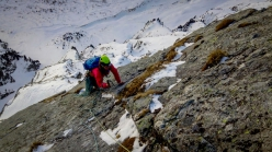 Raphaela Haug and Martin Schidlowski making the first ascent of Catwalk in Valsertal, Austria