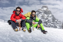 Francesco Ratti and François Cazzanelli after the first winter enchainment of Matterhorn Grandes Murailles