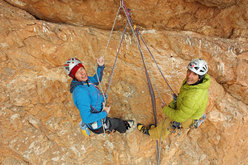 Rolando Larcher and Luca Giupponi at the fourth belay of Red, Moon and Star