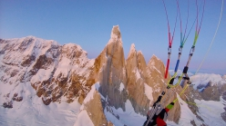Fabian Buhl paragliding off Cerro Torre in Patagonia