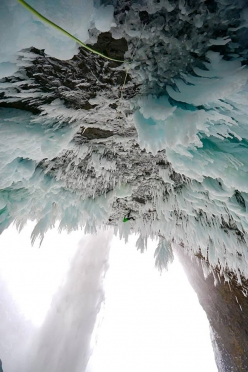 Klemen Premrl making the first ascent of Mission To Mars (WI13) at Helmcken Falls in Canada