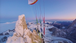 Fabian Buhl paragliding off the summit of Cerro Torre in Patagonia early on 7 February 2020